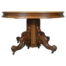 Victorian Round Walnut Banquet Dining Table Open 127 Inches