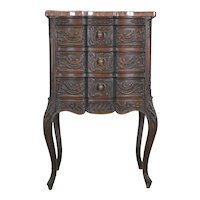 Carved Unusual Walnut Marble Top Ladies Chest