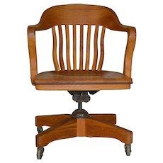 Oak Bankers Lawyers Swivel Tilt Office Chair