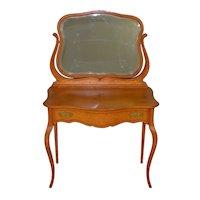 Oak Victorian Bevel Mirror Ladies Vanity with Inlay – Rare