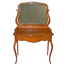 Oak Victorian Bevel Mirror Ladies Vanity with Inlay – Rare