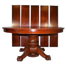 Mahogany Round 60 Inch Banquet Dining Table – 5 Leaves – 10 Feet long!!