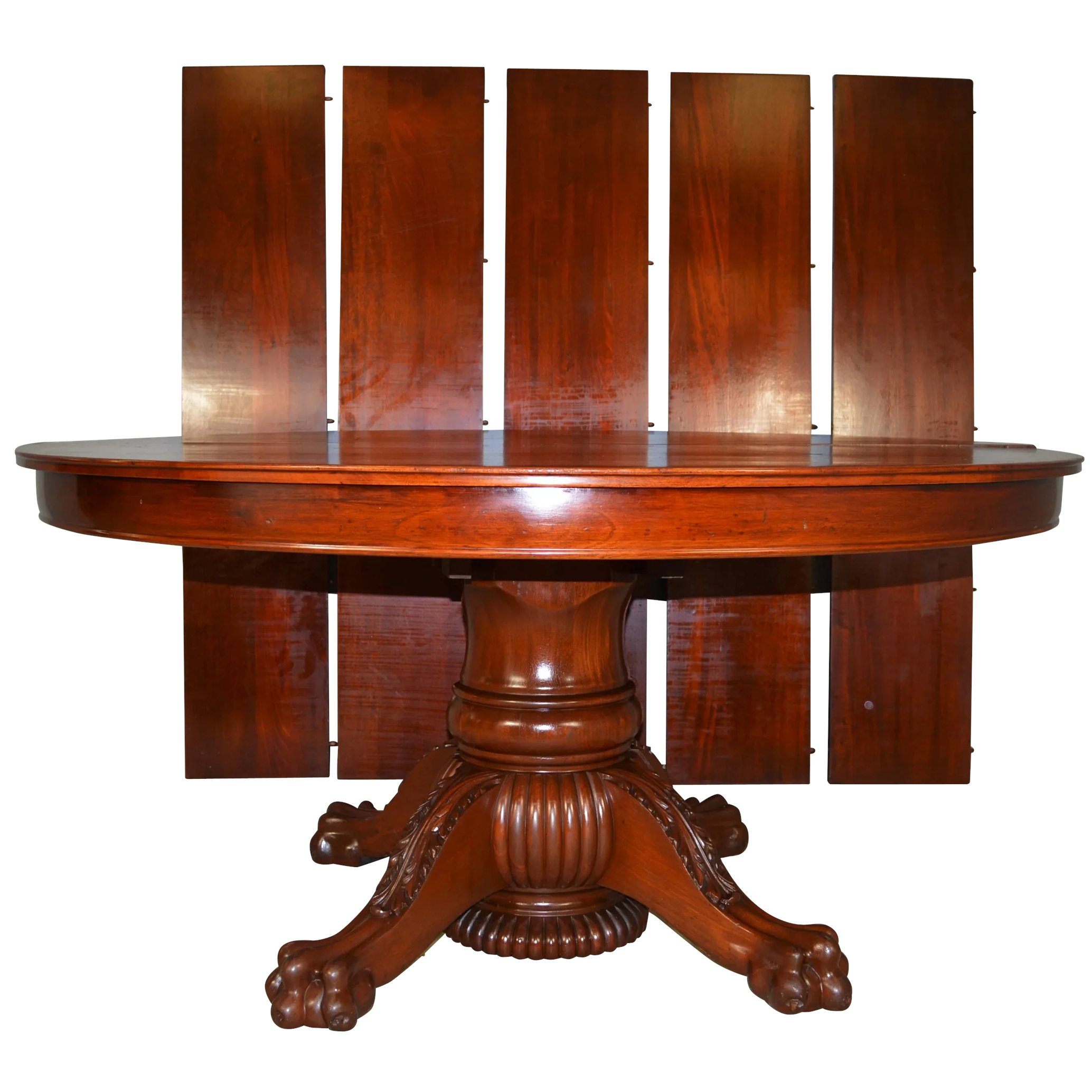 Mahogany Round 60 Inch Banquet Dining Table 5 Leaves 10 Feet Long
