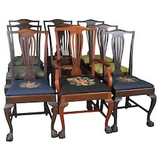 Set of 9 Victorian Chippendale Ball & Claw Mahogany Dining Chairs