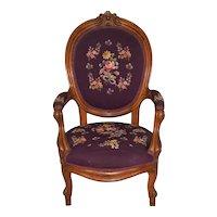 Antique Victorian Needlepoint Walnut Arm Chair