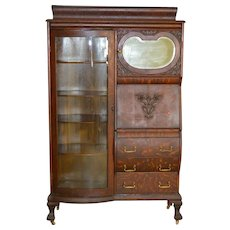 Victorian Oak Curved Glass Side by Side Secretary Desk