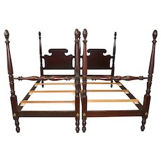 Pair of Tall Mahogany Pineapple Poster Beds
