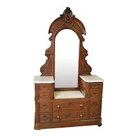 Victorian Burl Walnut Marble Top Ladies Dresser