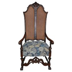 French Carved Throne Chair Solid Walnut
