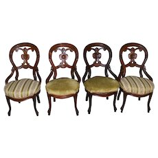 Set of 4 Victorian Carved Chairs