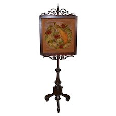 Victorian Rosewood & Walnut Fireplace Screen Pole