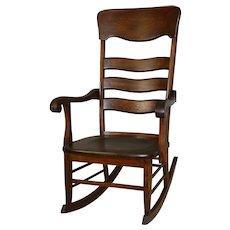 Tall Oak Solid Seat Rocking Chair