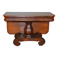 Flame Mahogany Empire Drop Leaf Unusual Table - Pre-Civil War