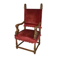 Carved Oak Throne Chair with Cupids