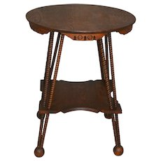 Victorian Oak Round Rope Twisted Lamp Table