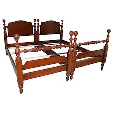 Pair of Mahogany Twin Size Cannonball Poster Beds
