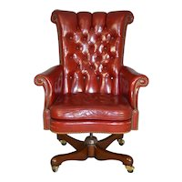 Red Leather Executive Swivel Office Chair by Kittinger