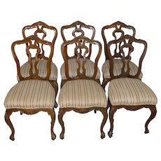 Set of 6 French Carved Parlor Chairs