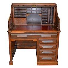 Rare Walnut Raised Panel Roll Top Desk by Derby
