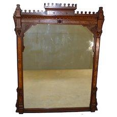 Victorian Burl Walnut Mantle Mirror