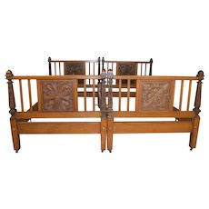 Pair of Oak Carved Unusual Twin Beds