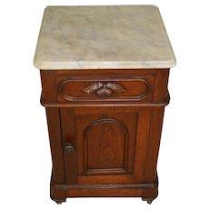 Victorian Walnut Marble Top Half Commode