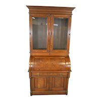 Antique Victorian Walnut Cylinder Secretary Desk