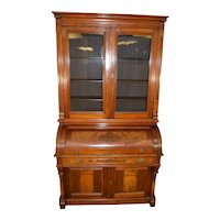Victorian Burl Walnut Cylinder Secretary Desk with Pillars