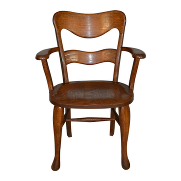 Oak Lawyers Carved Arm Chair