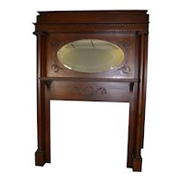Oak Victorian Fireplace Mantle with Oval Mirror