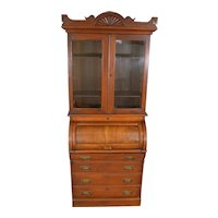 Victorian Walnut Cylinder Bookcase Secretary Desk