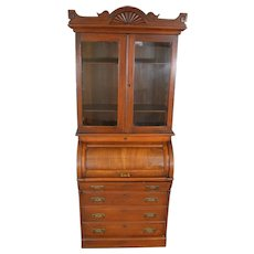 Victorian Walnut Cylinder Bookcase Secretary Desk