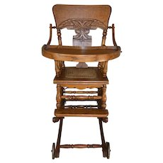 Oak Children's Press Back Up and Down High Chair