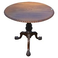 Centennial Solid Mahogany Inlaid Ball and Claw Chippendale Tilt Top Table