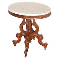 Antique Victorian Oval Carved Marble Top Table