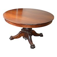 Victorian Claw Foot Split Pedestal Banquet table w/6 Leaves