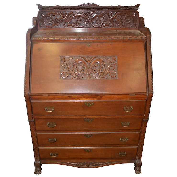 Victorian Carved Mahogany Slant Top Desk - Victorian Carved Mahogany Slant Top Desk : Maine Antique Furniture