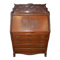 Victorian Carved Mahogany Slant Top Desk