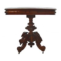Thomas Brooks Marble Top Heavy Carved Table