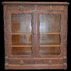 Oak Heavy Carved Two Door Four Drawer Bookcase – Paine Quality