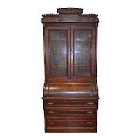 Victorian Walnut Cylinder Secretary Desk with Burl Pillars