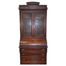 Victorian Walnut Cylinder Secretary Desk with Burl Pillars