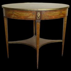 Inlaid Oval Banded Table with Cupids
