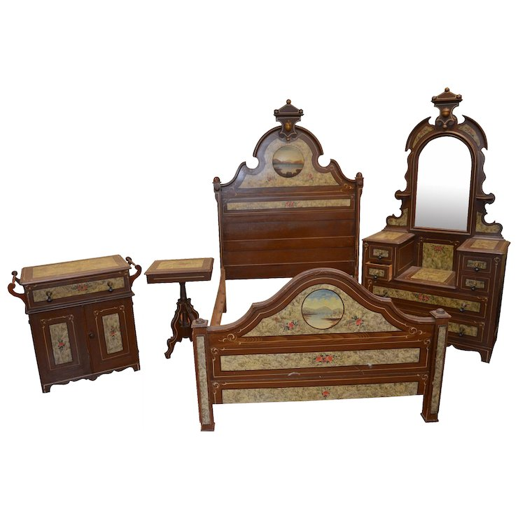 Victorian Hand Decorated Painted Scenic Bedroom Set - Victorian Hand Decorated Painted Scenic Bedroom Set : Maine Antique