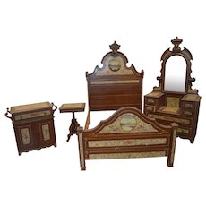 Victorian Hand Decorated Painted Scenic Bedroom Set