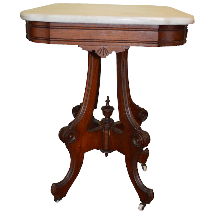 Marble Top Walnut Parlor Stand