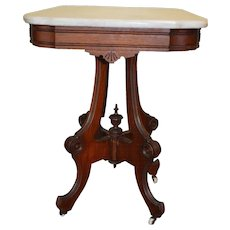 Victorian Marble Top Walnut Parlor Stand