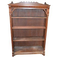 Walnut Victorian Carved Bookcase