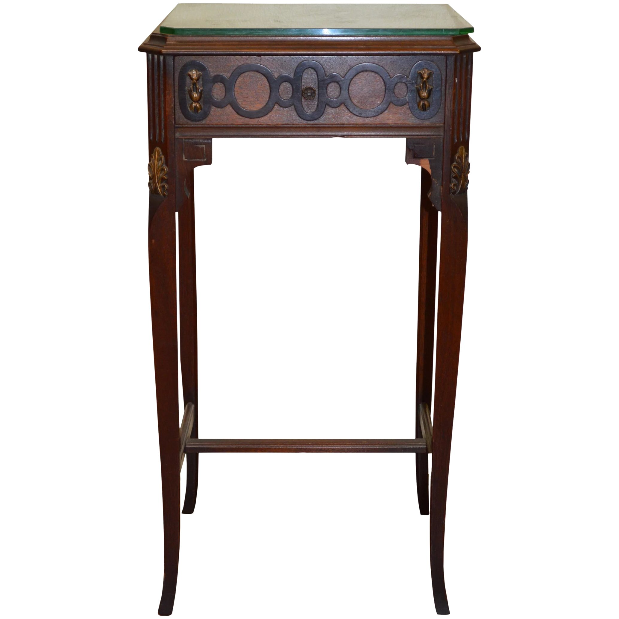 Walnut Carved Nightstand 1930s