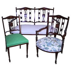 Three Piece Victorian Mahogany Parlor Set Carved with Inlay